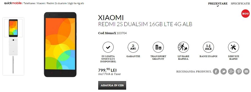 Xiaomi Redmi 2S ajunge În oferta de produse a celor de la QuickMobile; disponibil pentru 799 lei