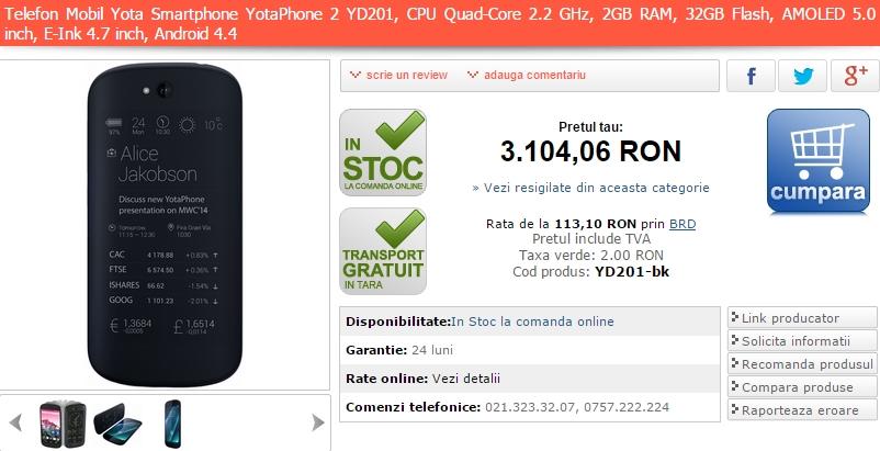 Yota Phone 2 acum În stocurile MarketOnline.ro