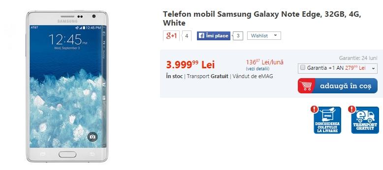 Samsung Galaxy Note Edge poate fi cumpărat acum și prin intermediul eMAG.ro