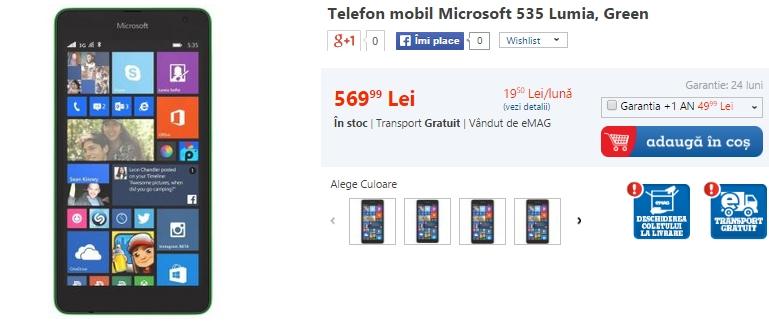 Microsoft Lumia 535 disponibil prin intermediul eMAG la prețul de 569 lei