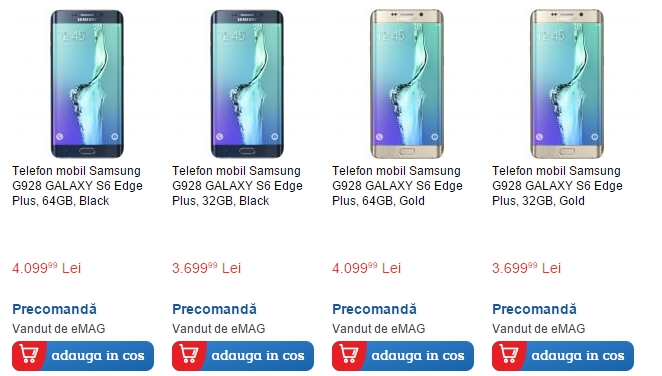Pret Samsung Galaxy S6 Edge+ in Romania