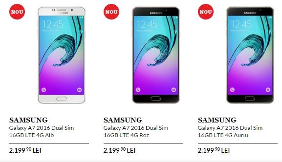 Samsung Galaxy A7 (2016) ajunge în oferta QuickMobile.ro; costă 2.199 lei și vine pe alb, auriu sau roz