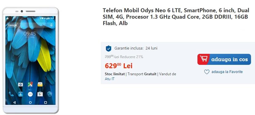 Odys Neo 6 este un phablet de 6 inch ce costă doar 629 lei pe eMAG.ro; iată cum se prezintă la nivel de specificații