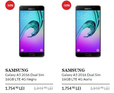Samsung Galaxy A5 (2016) are parte de o reducere prin intermediul QuickMobile; prețul scade cu 200 lei