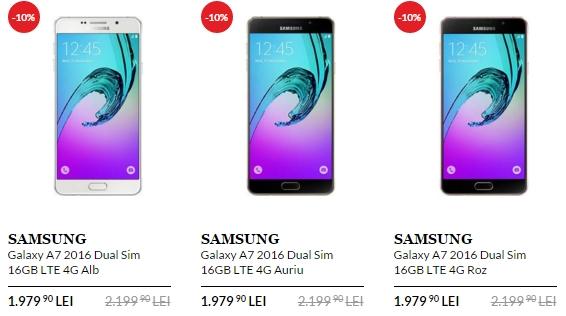 QuickMobile aplică o reducere de 10% pentru phablet-ul Samsung Galaxy A7 (2016); iată noul preț