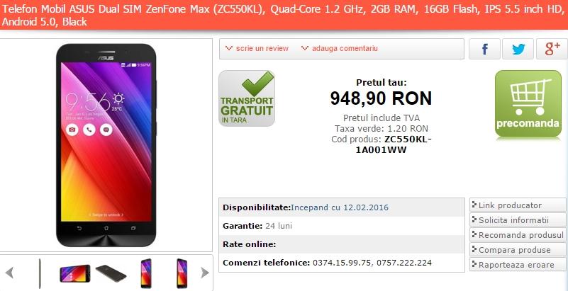 Asus ZenFone Max ajunge în oferta MarketOnline; device cu baterie de 5000 mAh și preț de 948 lei