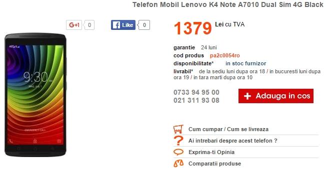 Lenovo K4 Note poate fi comandat de astăzi prin intermediul Cel.ro la un preț de 1.379 lei