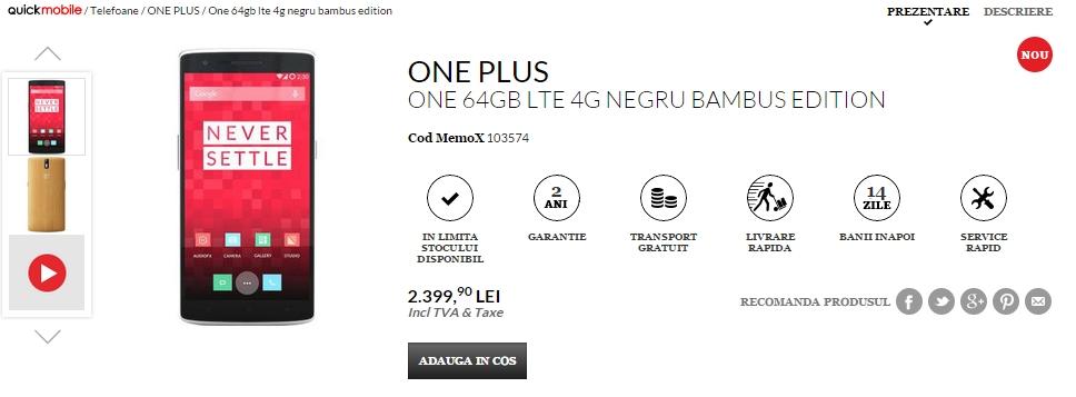 Ediția din bambus a lui OnePlus One disponibilă acum prin QuickMobile