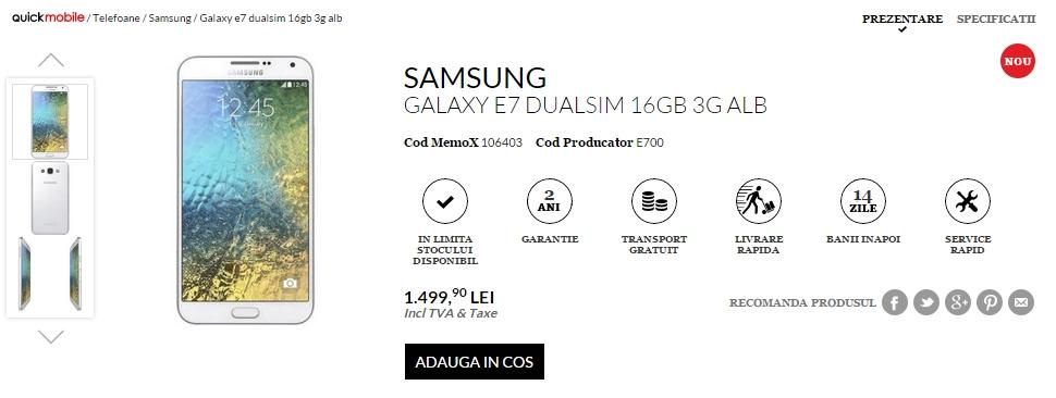 Samsung Galaxy E7 Dual-SIM disponibil la QuickMobile