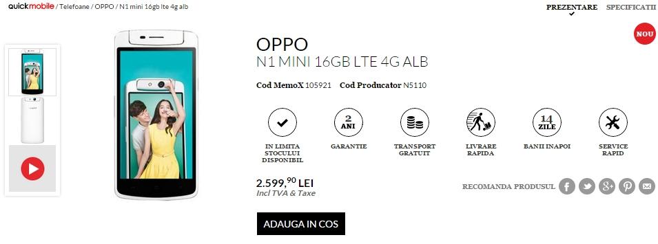 Oppo N1 Mini ajunge în oferta QuickMobile.ro pentru suma de 2.599 lei