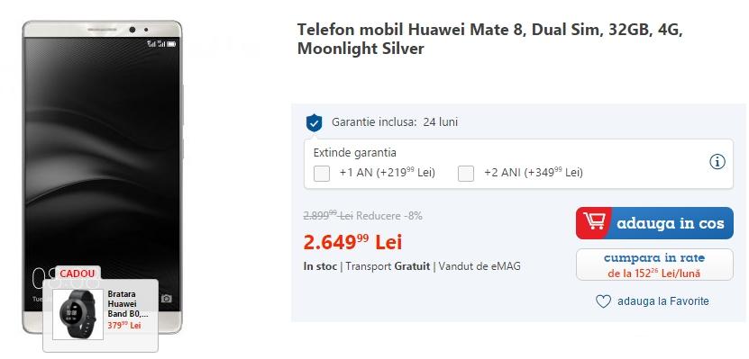 Iată cel mai bun preț din țară pentru phablet-ul Huawei Mate 8 - gigantul cu display de 6 inch
