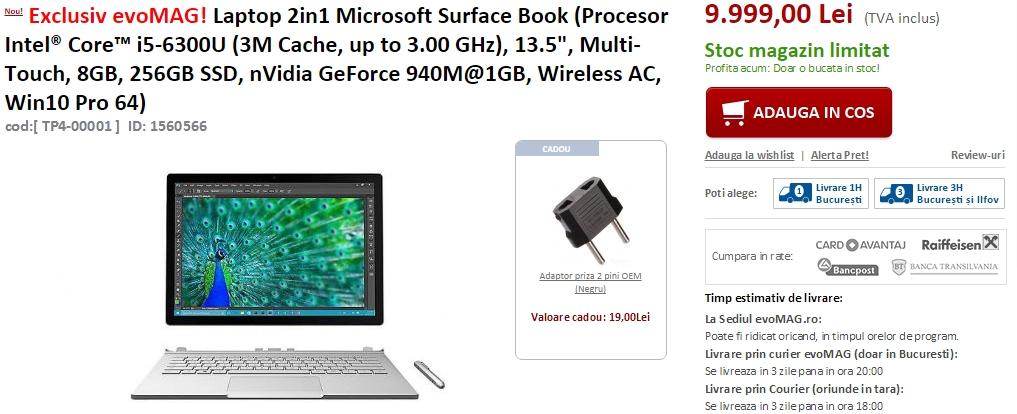 Laptop-ul Microsoft Surface Book ajunge la vânzare pe evoMAG.ro; prețurile sunt pe măsura exclusivității