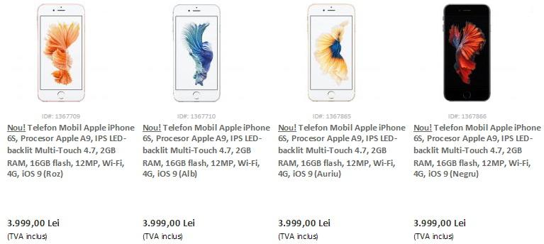 Apple iPhone 6s 16 GB disponibil de astăzi în stocurile evoMAG.ro la un preț de 3.999 lei