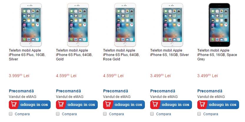 iPhone 6s și iPhone 6s Plus, de astăzi disponibile la precomandă și pe eMAG.ro