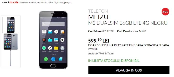 Meizu M2 smartphone-ul cu 2 GB RAM, display HD și procesor 64-bit, disponibil de astăzi prin QuickMobile la un preț de 599 lei