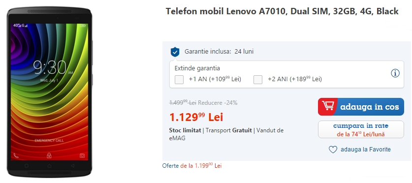 Lenovo Vibe K4 Note, telefon cu difuzoare stereo și display FHD de 5.5 inch, acum cu 24% reducere la eMAG.ro