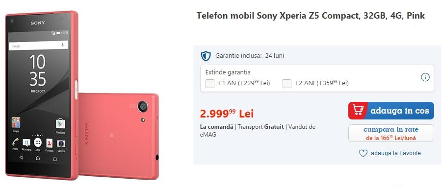 Sony Xperia Z5 Compact acum disponibil și la eMAG; iată la ce preț este comercializat