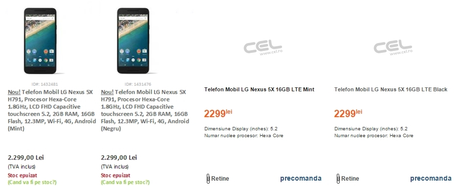 evoMAG și Cel.ro dezvăluie primele prețuri pentru smartphone-ul Google Nexus 5x