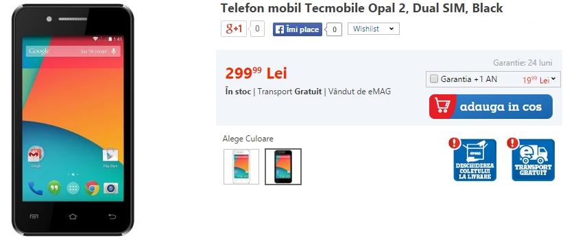 Tecmobile Opal 2 este un terminal dual-SIM atractiv cu preț de doar 269 lei; disponibil prin intermediul eMAG