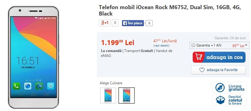 iOcean Rock, smartphone cu 3 GB RAM și display FHD de 5.5 inch debutează în stocurile eMAG.ro