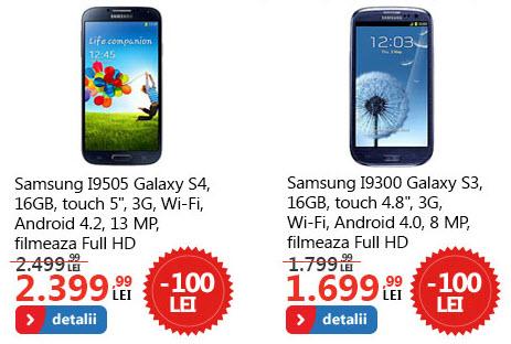 Galaxy S3 și S4 cu reducere