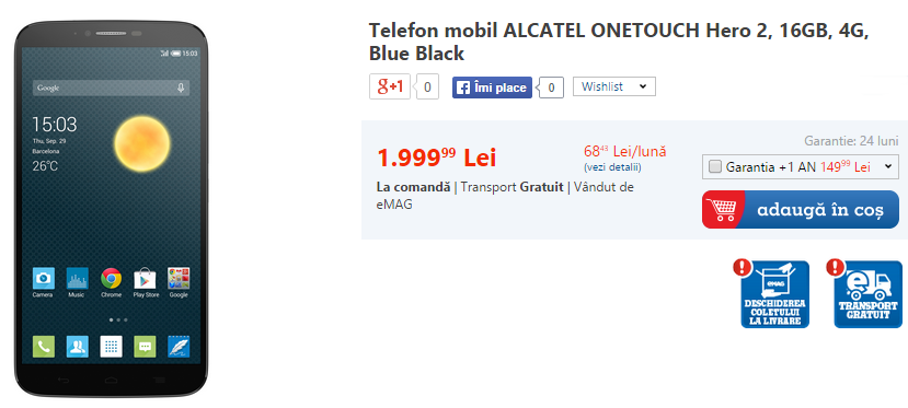 Phablet-ul Alcatel OneTouch Hero 2 disponibil prin eMAG la un preț de 1.999 lei