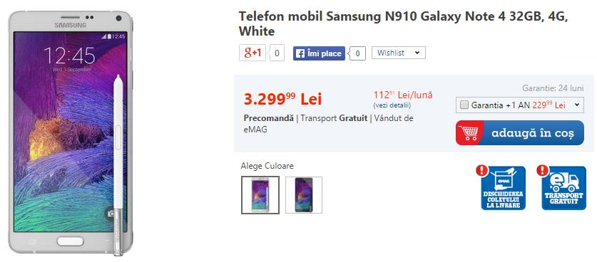 Samsung Galaxy Note 4 disponibil la comandă prin eMAG la un preț de 3.299 lei