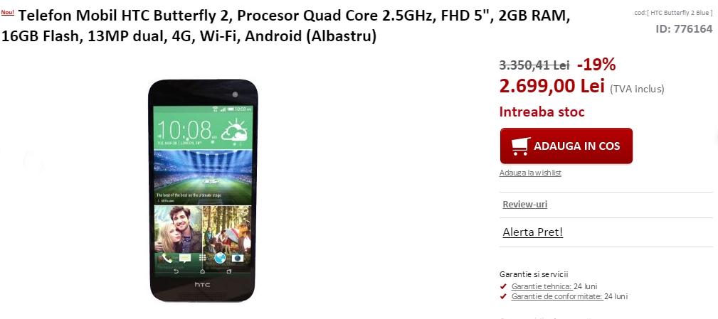 HTC Butterfly 2 disponibil acum prin evoMAG.ro la un preț de 2.699 lei