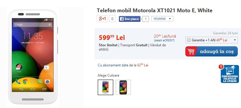 Pret Motorola Moto E la eMAG
