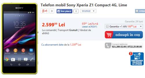 Pret Sony Xperia Z1 Compact in Romania