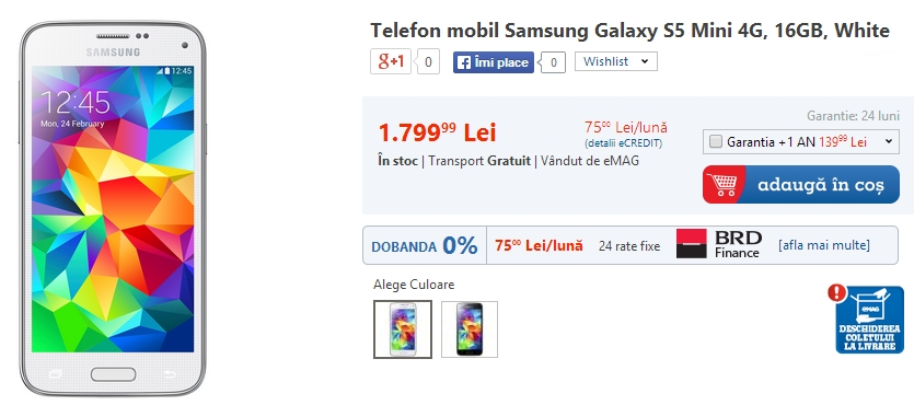 Pret Samsung Galaxy S5 Mini in Romania (eMAG)