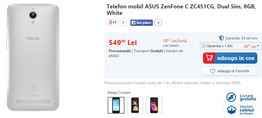 Asus ZenFone C, cel mai accesibil model din gama producătorului taiwanez ajunge la eMAG.ro