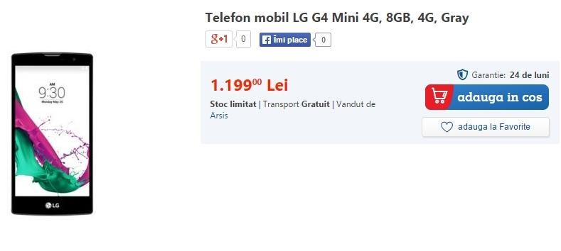 LG G4 Mini este acum disponibil prin intermediul eMAG.ro la prețul de 1.199 lei