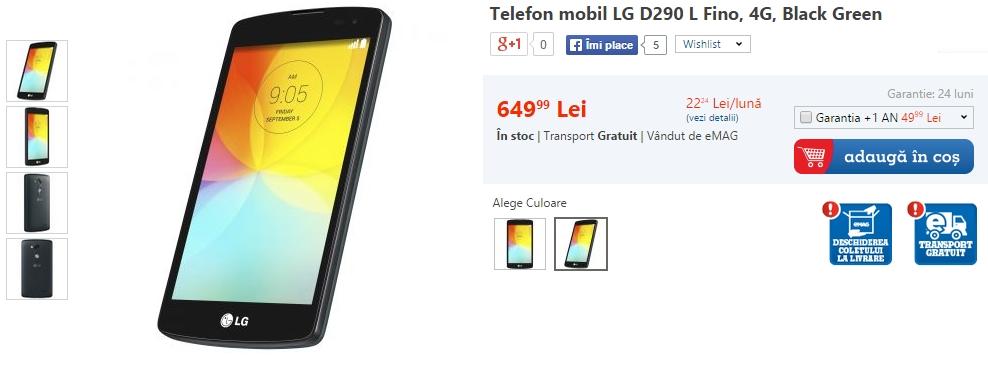 LG L Fino (D290) disponibil Începând de astăzi prin intermediul eMAG.ro; telefon 4G cu preț de 649 lei