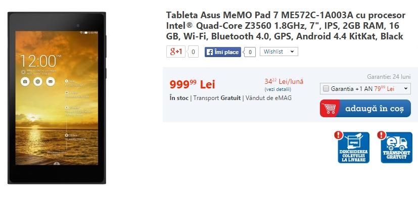 Tableta Asus MeMo Pad 7 ME572C disponilă prin eMAG la prețul de 999 lei