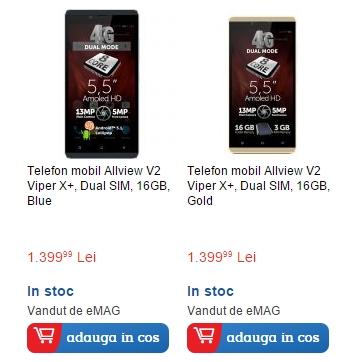 Allview V2 Viper X+ disponibil la eMAG pe auriu sau albastru; vine cu 3 GB RAM și costă 1.399 lei