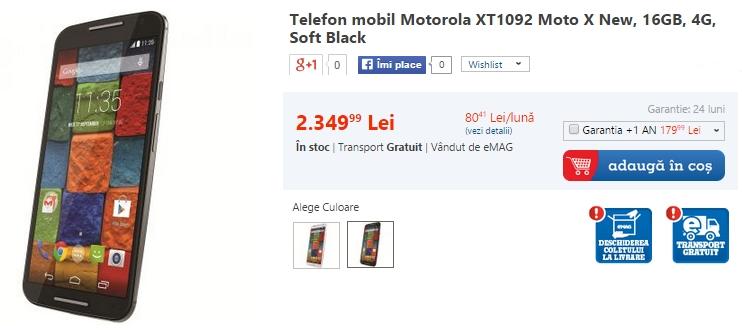 Motorola Moto X (2014) disponibil prin eMAG la un preț de 2.349 lei