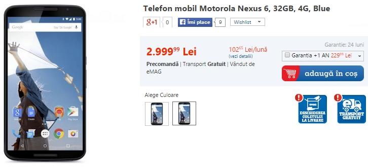 Motorola Nexus 6 ajunge acum și În stocurile celor de la eMAG; disponibil la prețul de 2.999 lei