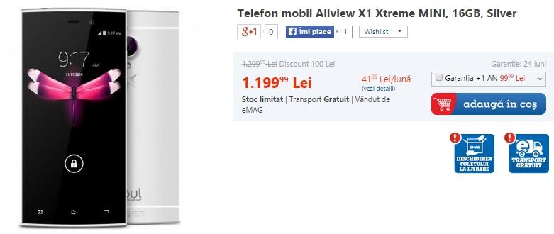 Allview X1 Xtreme Mini disponibil și prin intermediul eMAG.ro la prețul de 1.199 lei
