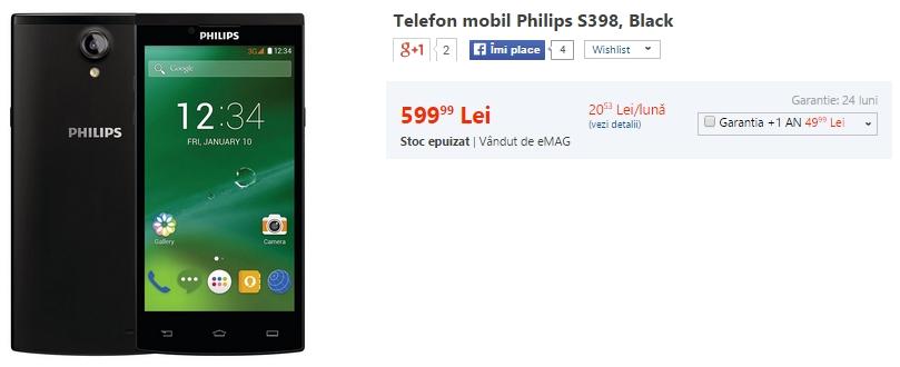 Philips S398 ajunge În oferta eMAG la prețul de 599 lei