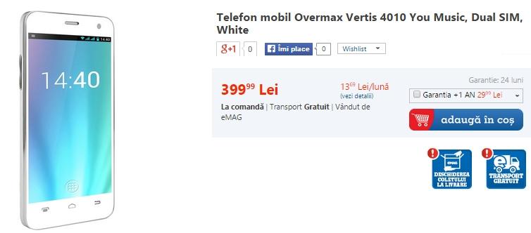 Overmax Vertis 4010 You Music disponibil prin eMAG; telefon axat pe partea audio ce vine la pachet cu o pereche de căști Hi-Fi