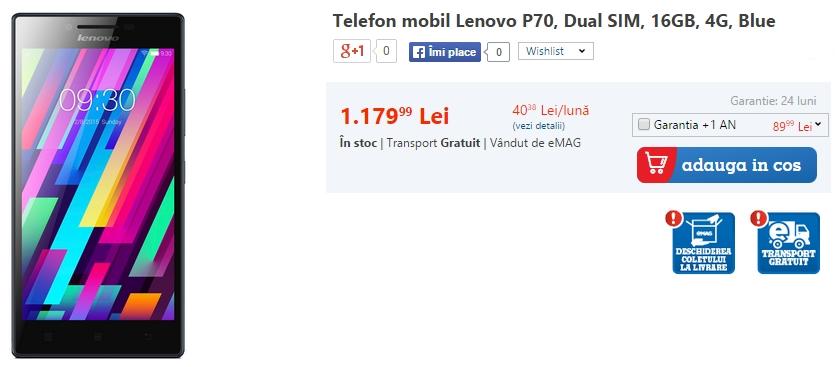 Lenovo P70, smartphone-ul cu baterie de 4.000 mAh sosește acum la eMAG.ro