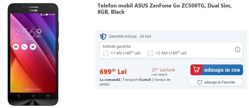 Asus ZenFone GO este listat în magazinul online eMAG