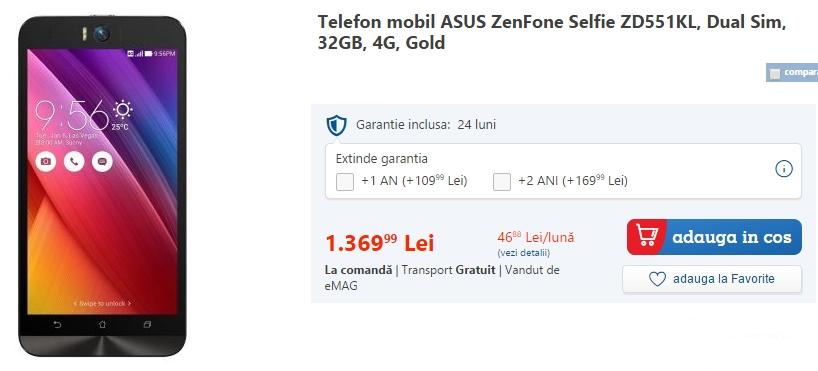 Smartphone-ul Asus ZenFone Selfie, disponibil de astăzi prin intermediul eMAG