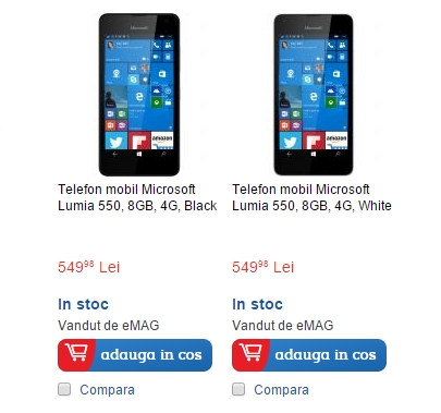 Microsoft Lumia 550, cel mai accesibil device cu Windows 10 Mobile, ajunge la eMAG.ro