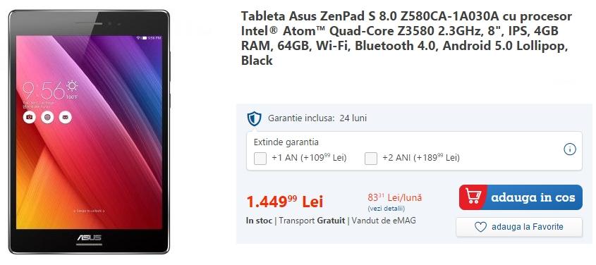 Asus ZenPad S 8.0 poposește în oferta eMAG; tabletă high-end de 8 inch cu 4 GB RAM și procesor quad-core Intel