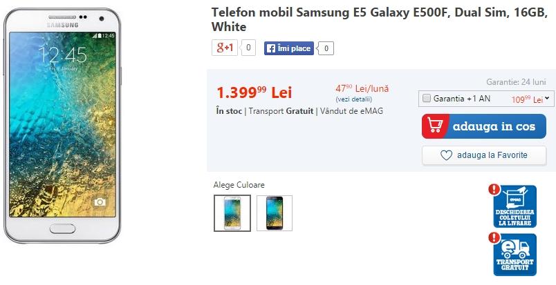 Samsung Galaxy E5 Dual-SIM disponibil prin eMAG.ro la un preț de 1.399 lei