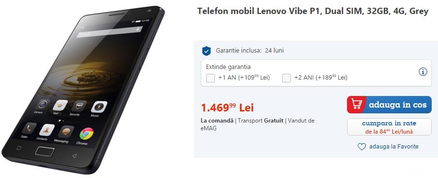 Lenovo Vibe P1, telefon cu baterie de 5.000 mAh și display FHD de 5.5 inch, disponibil de astăzi prin eMAG.ro