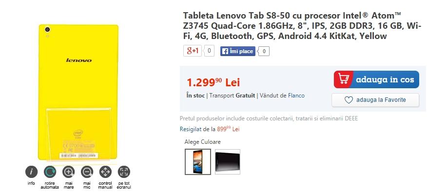 Lenovo Tab S8-50 ajunge la eMAG; tabletă high-end cu display FHD de 8 inch și procesor Intel