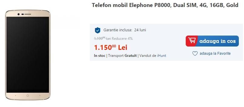 Elephone P8000, disponibil acum și în stocurile eMAG.ro; vine cu 3 GB RAM și costă 1.150 lei